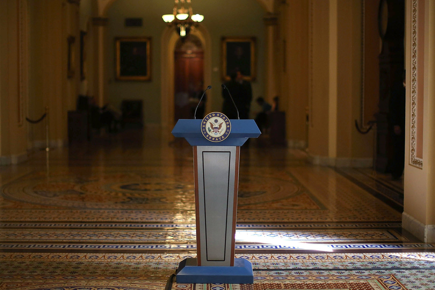 Oct. 8, 2013. A podium stands where Senate Democrats and Republicans where scheduled to talk to the media after their policy luncheon meetings at the U.S. Capitol in Washington.