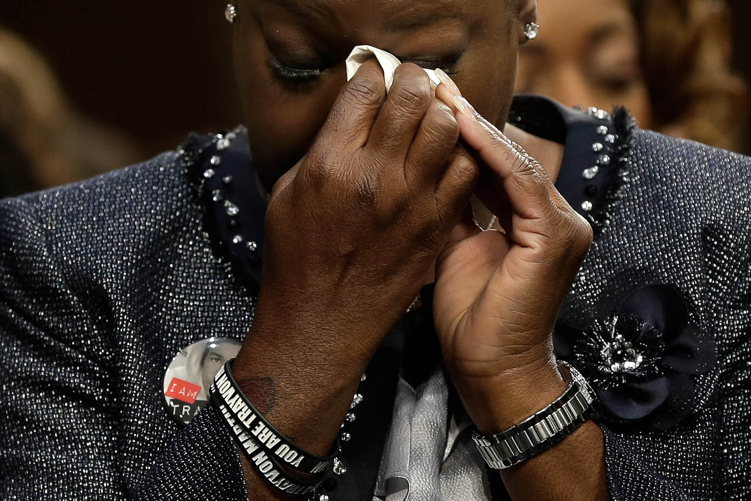 Oct. 29, 2013. Sybrina Fulton of Miami, Fla., mother of Trayvon Martin, wipes her eyes during a Senate Judiciary Committee hearing on  Stand Your Ground  laws in Washington.