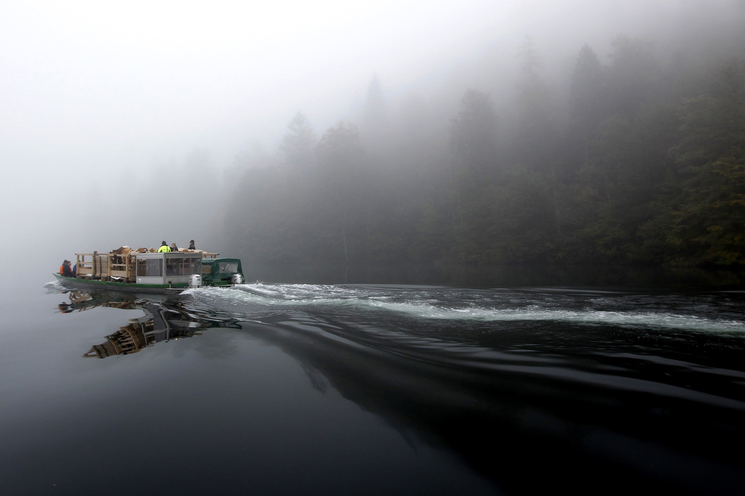 Oct. 5, 2013. Bavarian farmers transport their cows on a boat over the picturesque Lake Koenigssee in Germany.