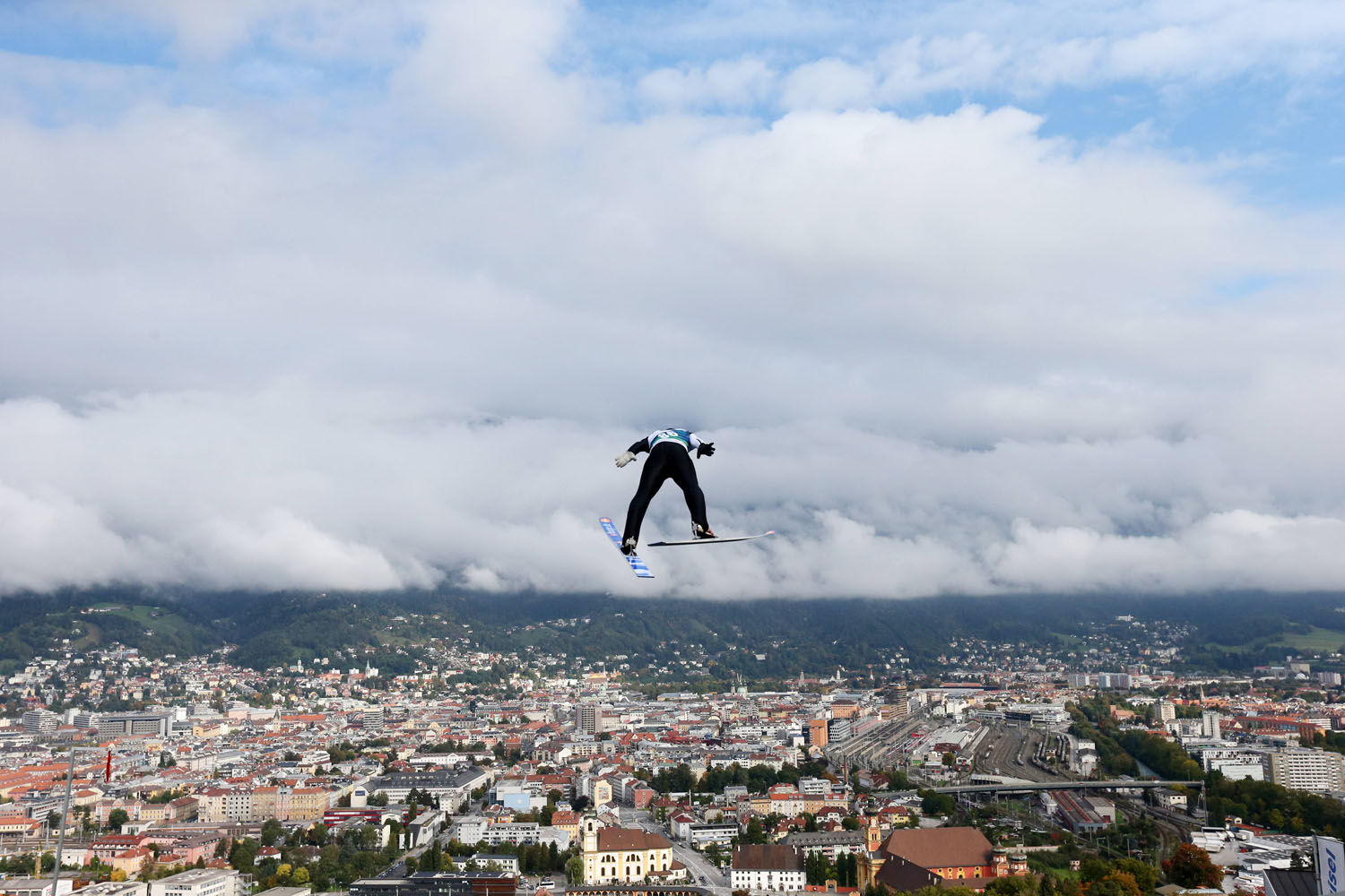 Oct. 6, 2013. Manuel Fettner going off a ski jump at the Ski Nordic AUT State Championships in Innsbruck, Austria.