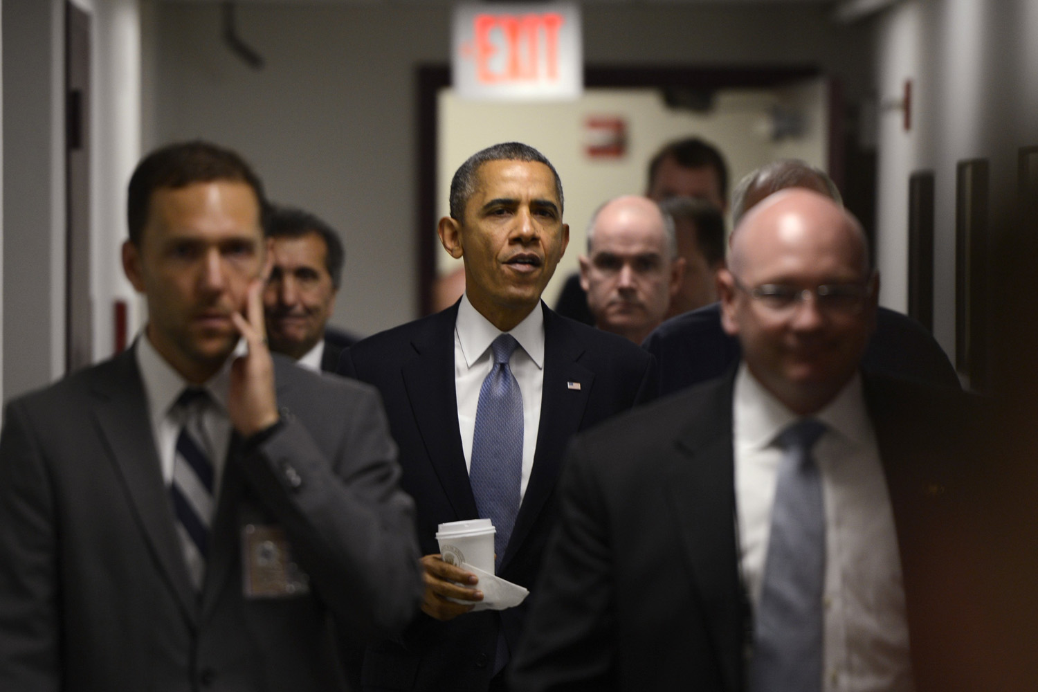 Oct. 7, 2013. U.S. President Barack Obama walks to a briefing to deliver remarks on the Government Shutdown at FEMA's National Responce Coordination Center in Washington.