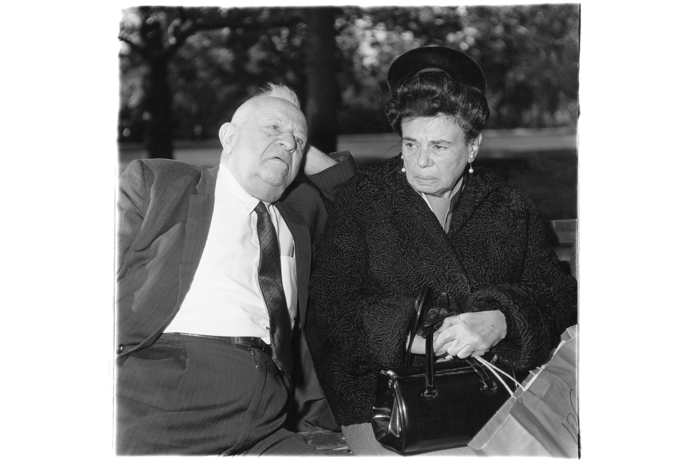 Exhibition.  Diane Arbus 1971-1956.  Fraenkel Gallery, San Francisco, California. October 31 - December 28, 2013. Pictured: Elderly couple on a park bench, N.Y.C. 1969.