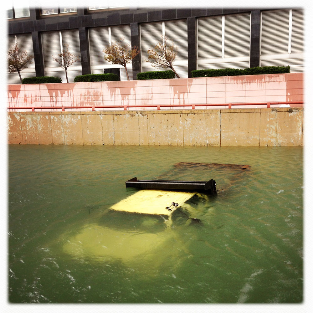 A truck submerged in water at the entrance to the Brooklyn-Battery tunnel in Lower Manhattan, N.Y., 2012