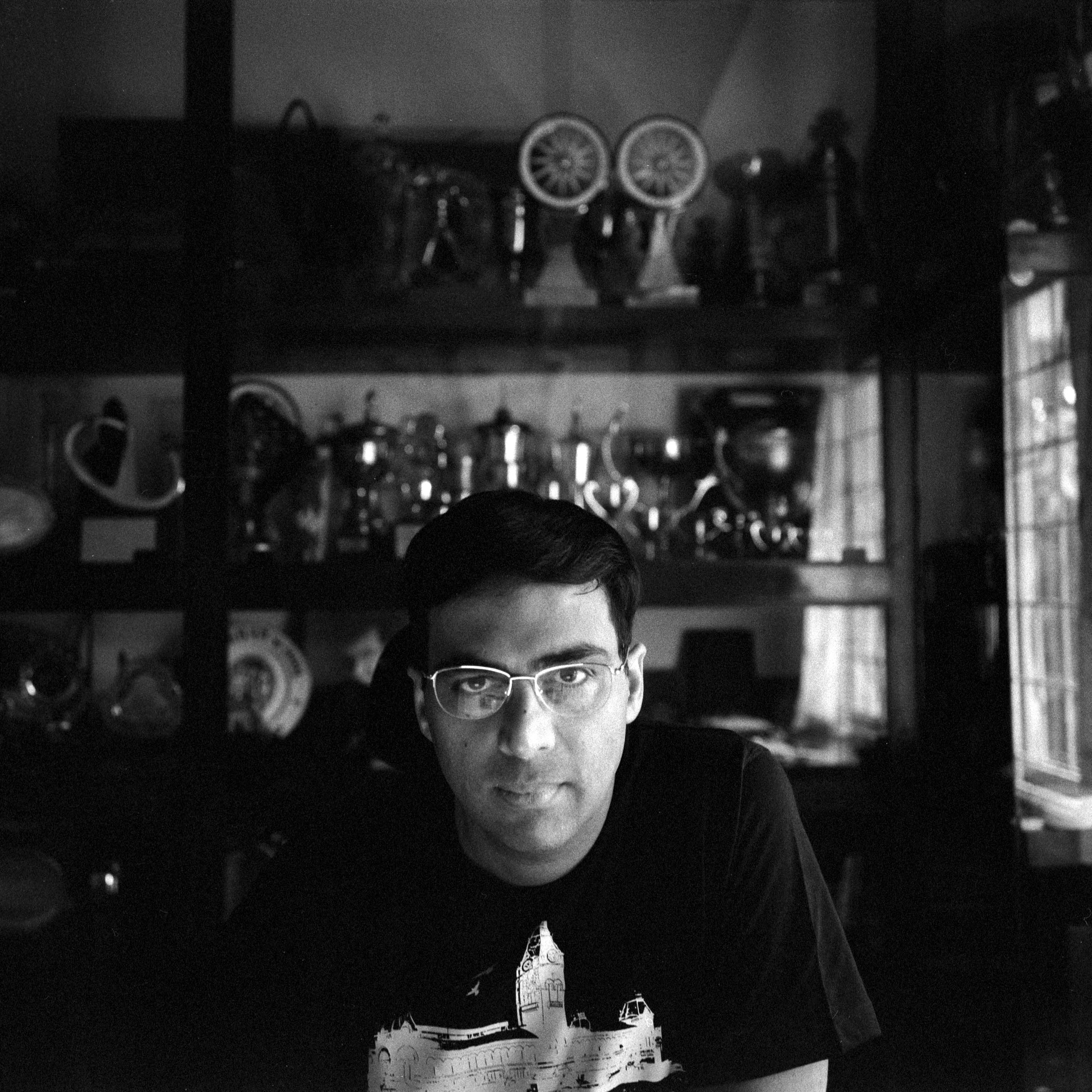 Viswanathan Anand in his office and trophy room at his home in Chennai, India. Current World Chess Champion, 43-year old Anand has been the undisputed champion since 2007. October 2013.
