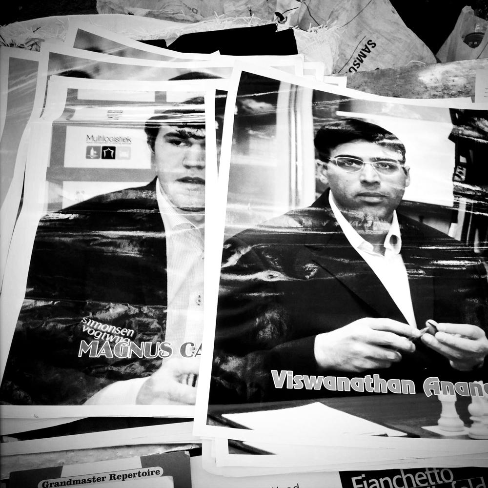 Magnus and Anand's posters for sale in Chennai ahead of their championship match. October 2013.