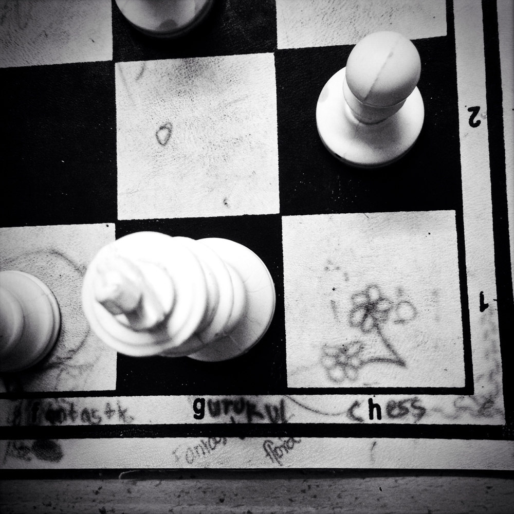 A chess board in a children's chess school in Chennai. The school has produced several youth world champions. October 2013.