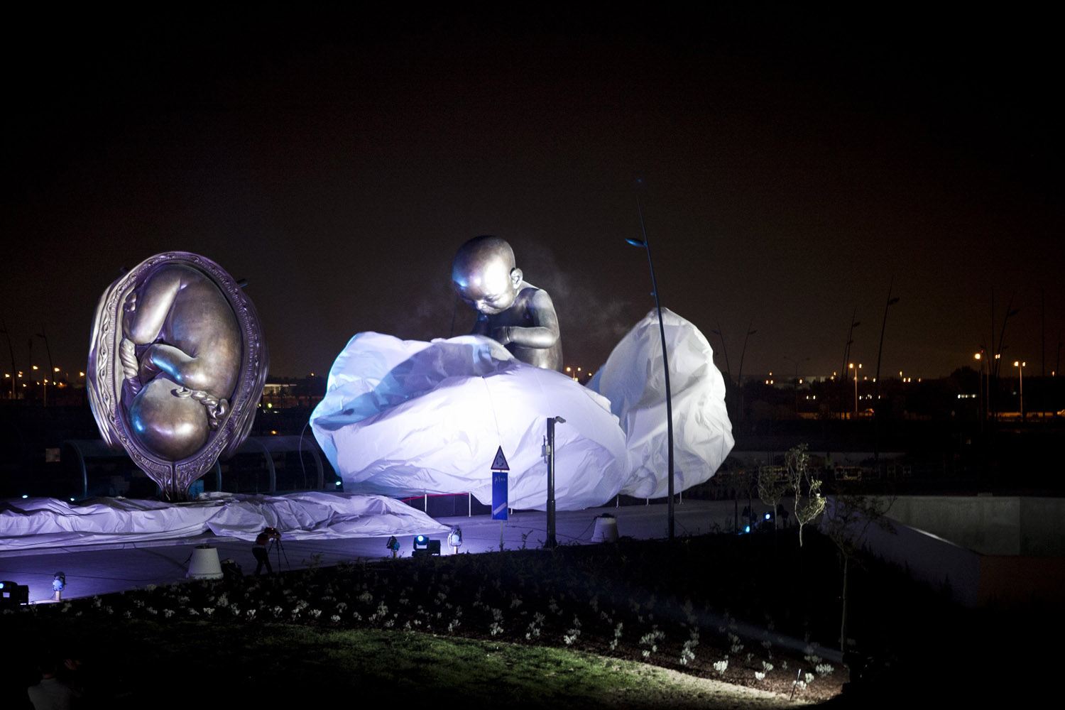 Oct. 7, 2013.  The Miraculous Journey,  by British artist Damien Hirst, is unveiled outside the Sidra Medical and Research Center in Doha, Qatar.