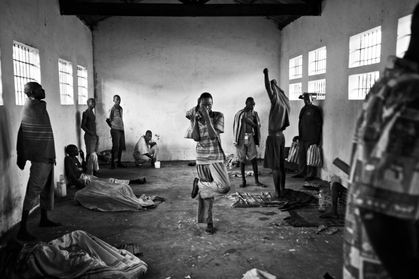 The mentally ill men and women in Juba Central Prison are held in separate cells at night but during the day will mingle with the general prison population. Juba, Sudan. January 2011. Photo Robin Hammond/Panos