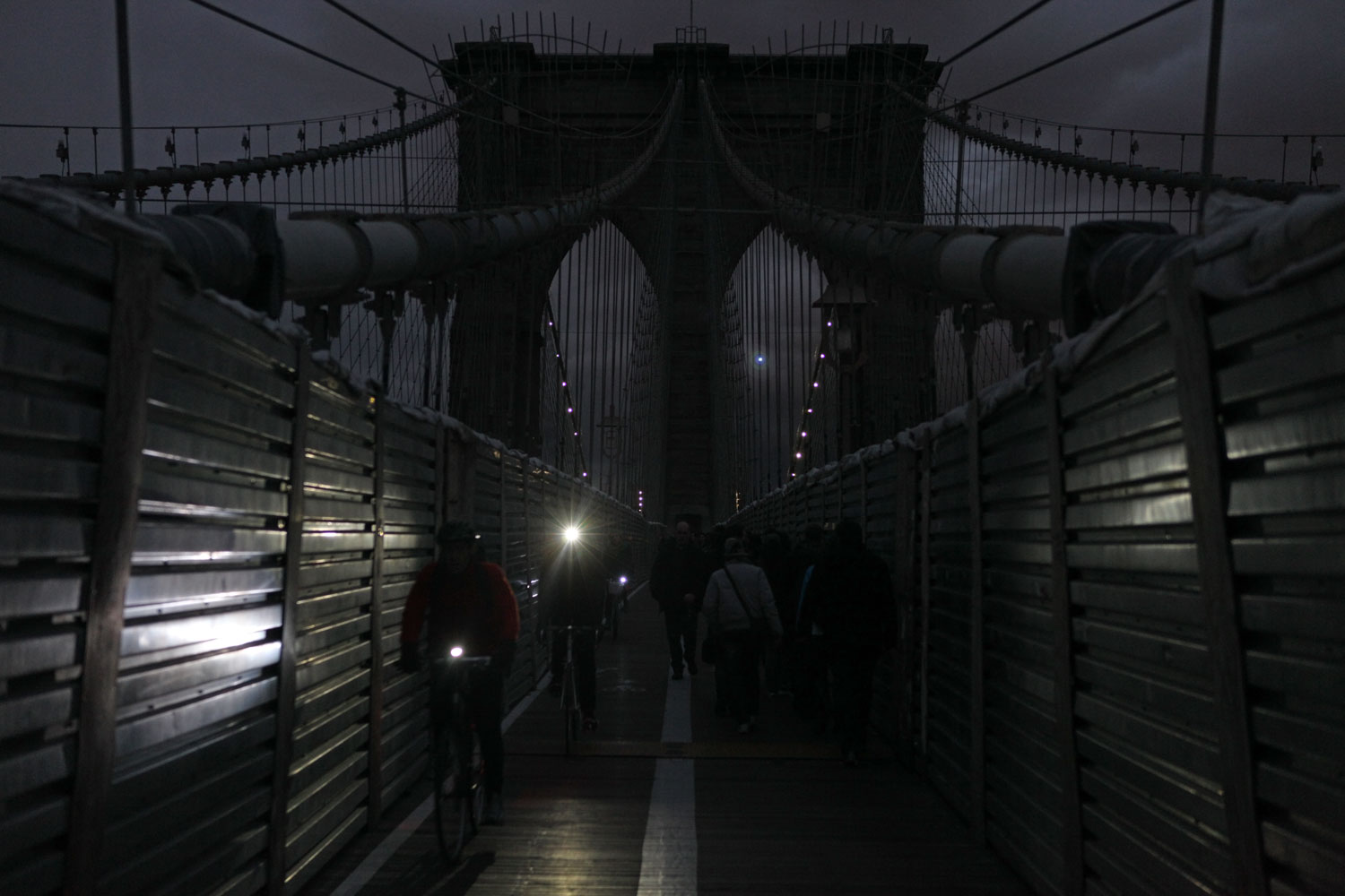Blackout on the Brooklyn Bridge, N.Y., Nov. 2, 2012