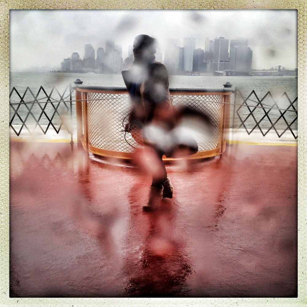 Nor'easter winds and freezing rain on the Staten Island Ferry,                               Staten Island, N.Y., Nov. 7, 2012