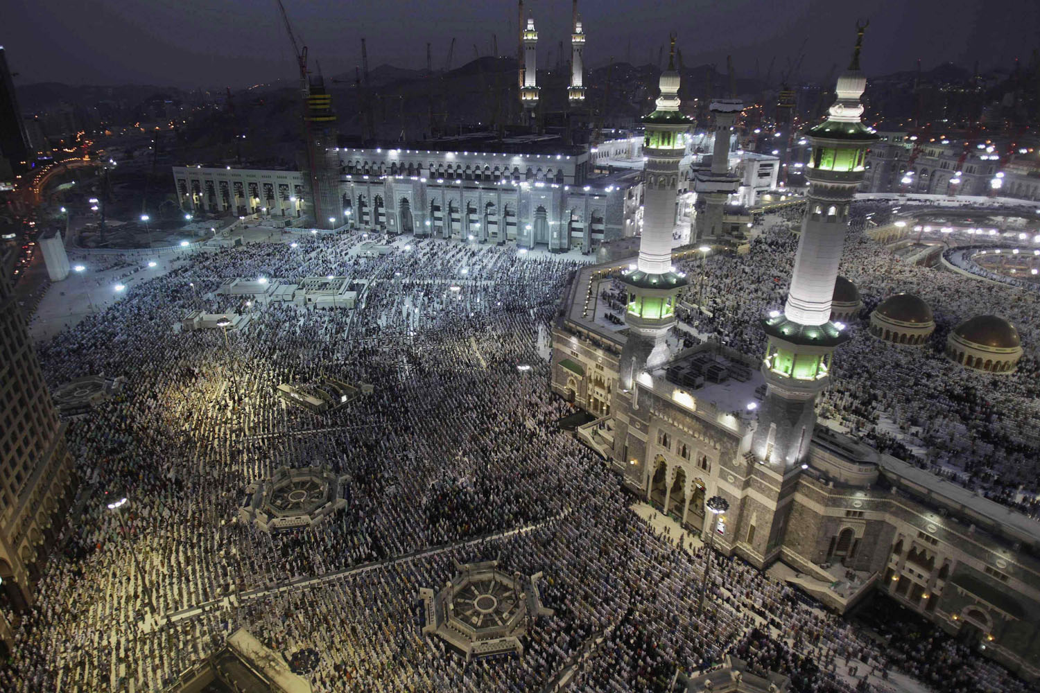 Oct. 10, 2013. Muslim pilgrims pray at the Grand mosque in the holy city of Mecca, ahead of the annual haj pilgrimage.