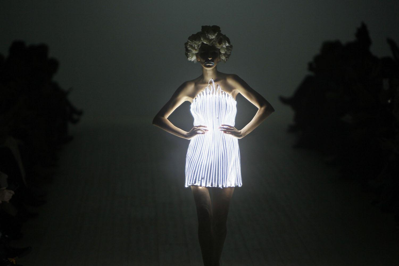 Oct. 10, 2013. A model presents a creation by Ukrainian designer Oleksiy Zalevskiy during Ukrainian Fashion Week in Kiev.