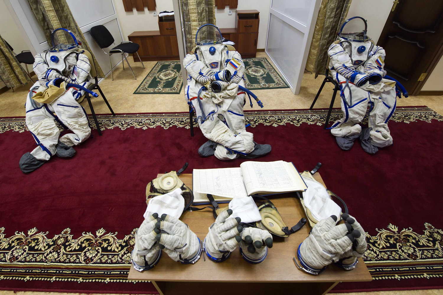 Feb. 18, 2013. Spacesuits are left on chairs before cosmonauts' training session at the Russian cosmonaut training facility in Star City outside Moscow, Russia.