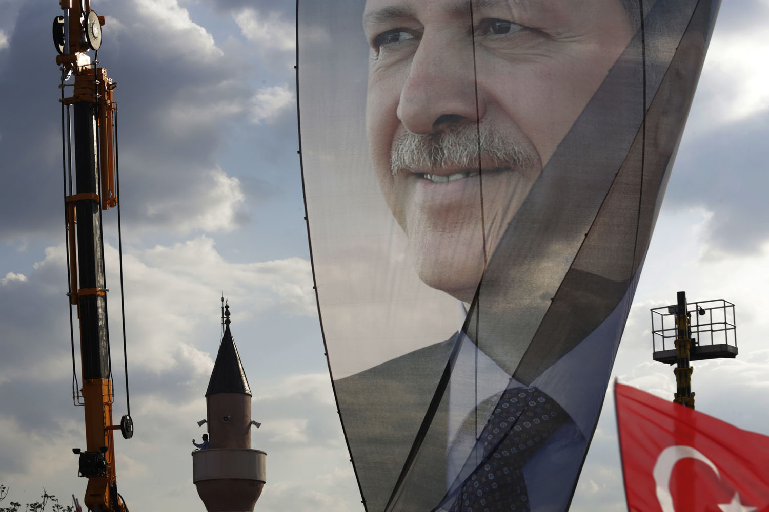 June 16, 2013. A large banner of Turkish Prime Minister Recep Tayyip Erdogan is seen in a pro-government rally in Istanbul, Turkey.