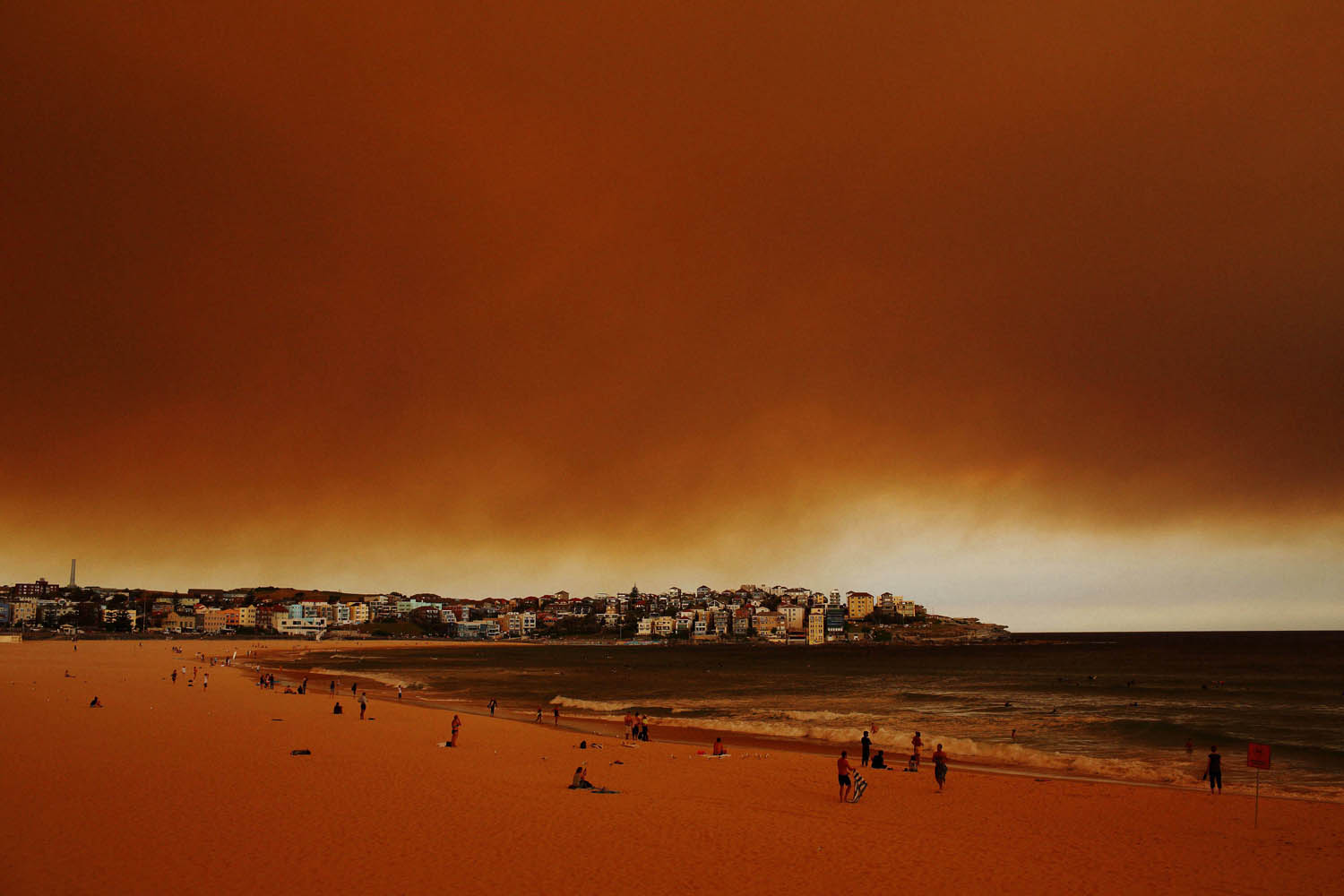 Oct. 17, 2013. Plumes of smoke were visible from Bondi Beach after strong north westerly winds and high temperatures resulted in dozens of bush fires across great Sydney, the Blue Mountains and the Southern Highlands in Australia.