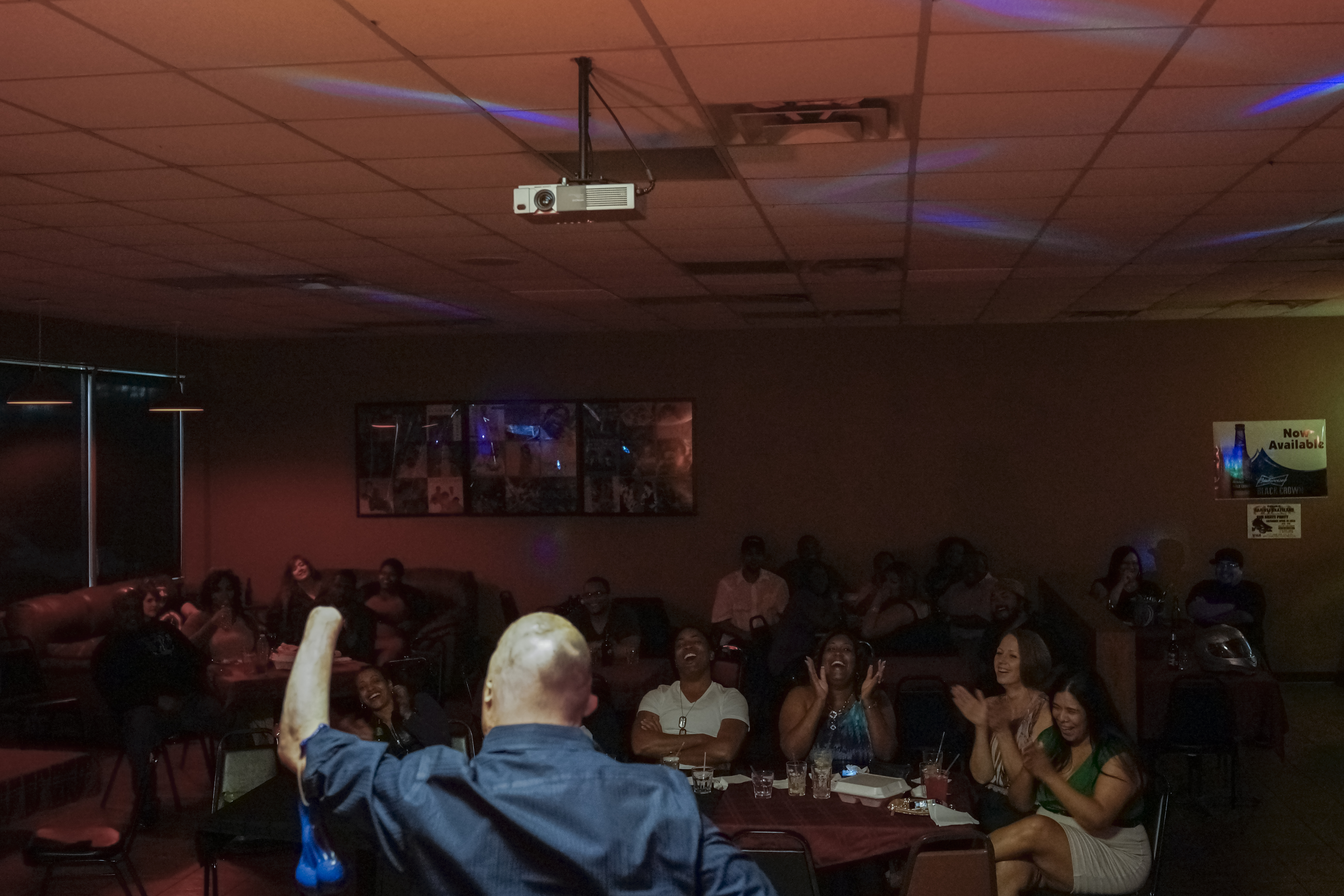 Bobby performs his comedy routine at the Uptown 78 Lounge. San Antonio, Texas, 2013.
