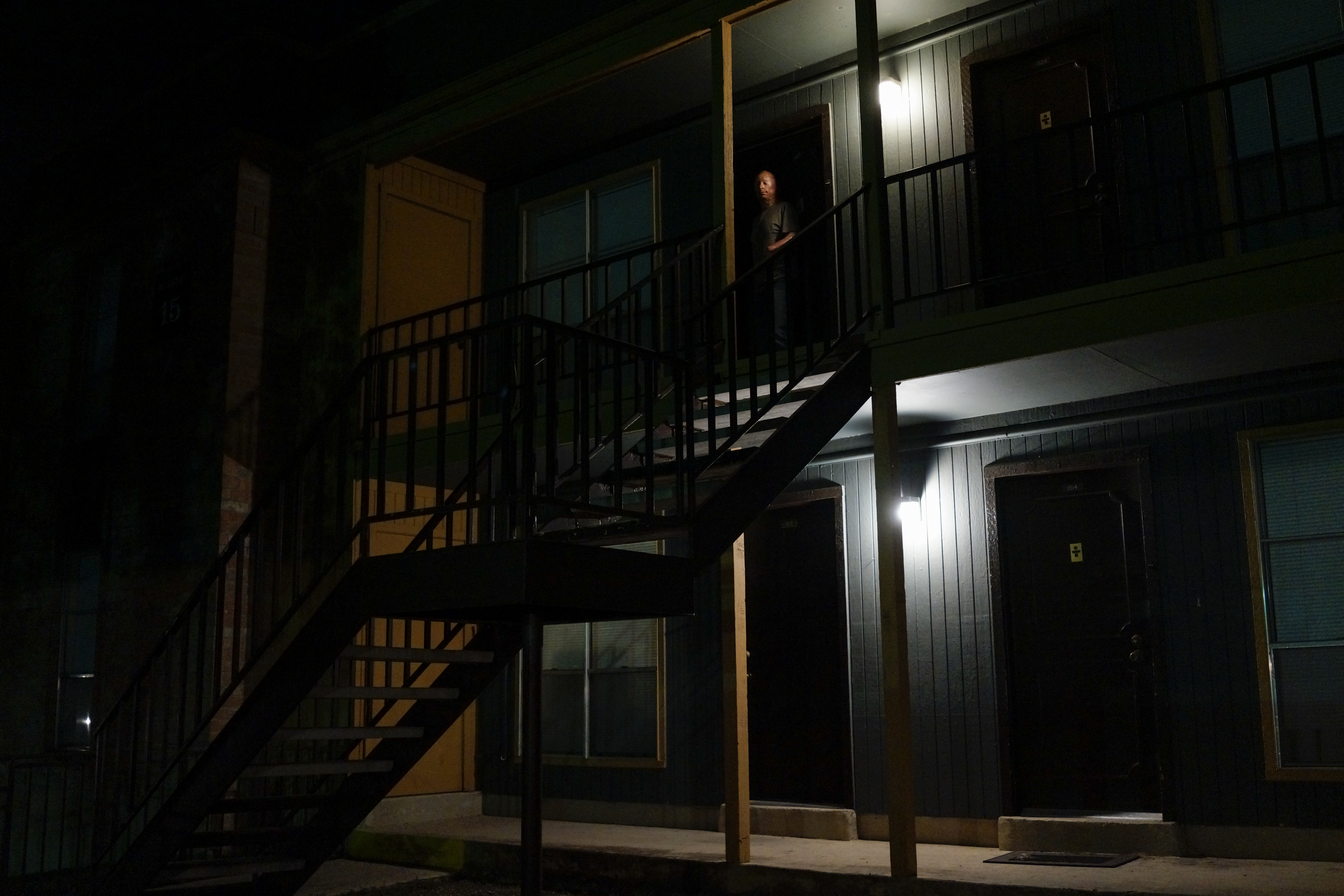 Returning home to his apartment after a weekly comedy routine at the Bracken Saloon in San Antonio. 2013.