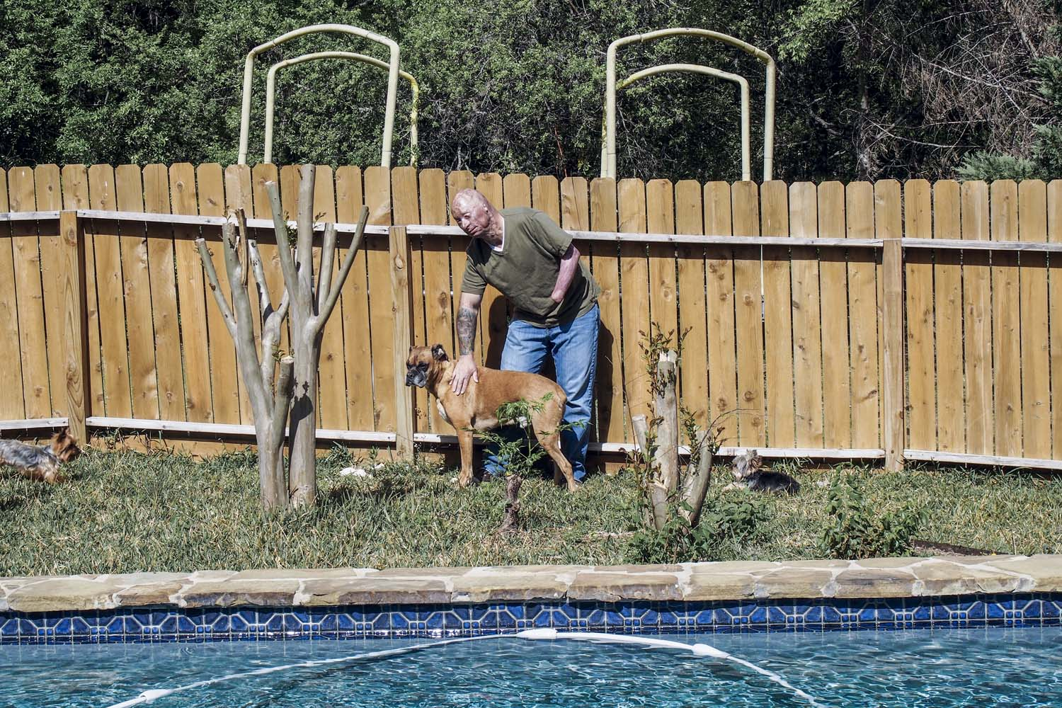In the backyard of his home in San Antonio, 2013.