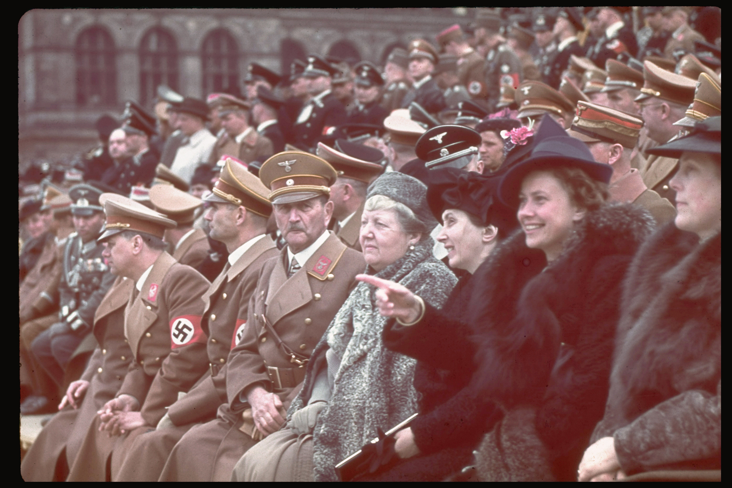 Guests of honor at a military demonstration for Hitler's 50th birthday celebration in Berlin.