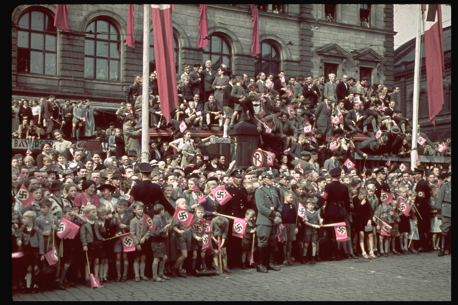 A crowd in Munich, Germany, around the time of the 1938 Munich Conference.