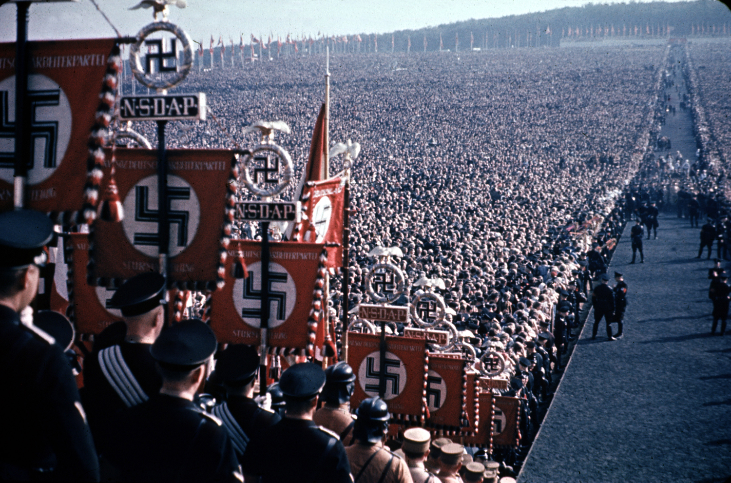Hundreds of thousands gather at a harvest festival and Nazi Party rally in Germany, 1937.
