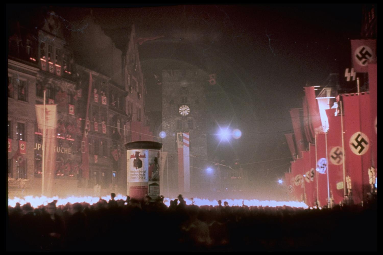 Torchlight rally honoring Adolf Hitler's 50th birthday, 1939.