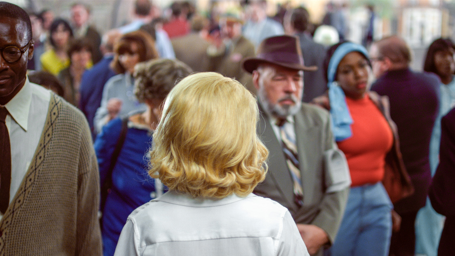 Film still from Face in the Crowd, 2013, featuring Elizabeth Banks