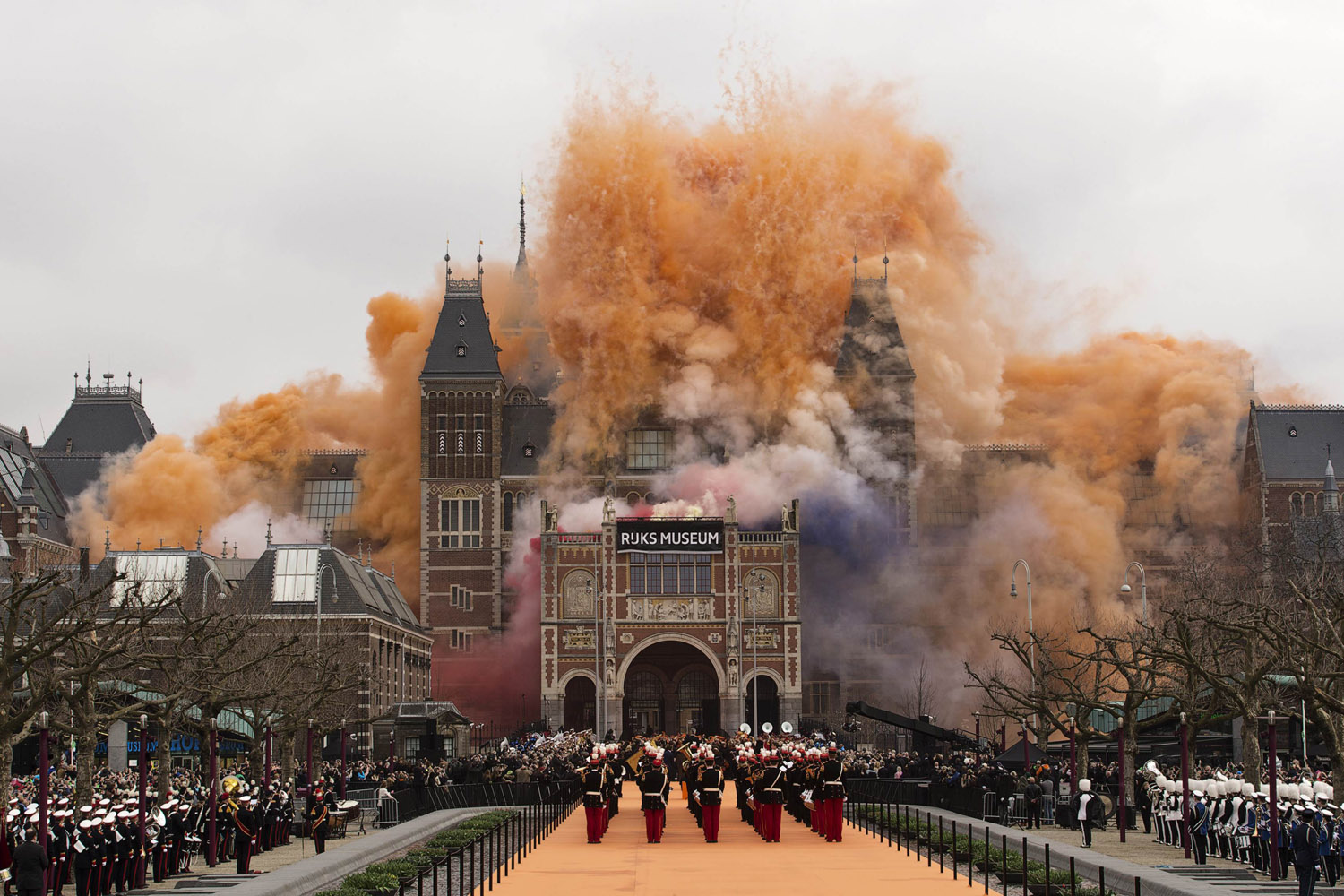 April 13, 2013. Queen Beatrix of the Netherlands (not pictured) ignites fireworks at the Rijksmuseum in Amsterdam.