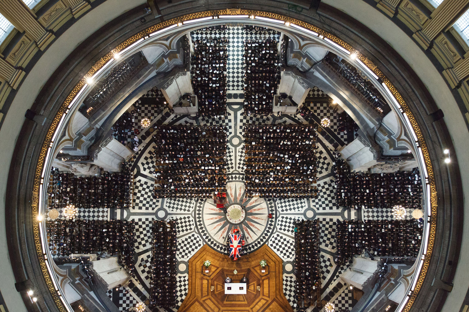 April 17, 2013. Guests take their seats during the Ceremonial funeral of former British Prime Minister Baroness Thatcher at St Paul's Cathedral  in London, England.
