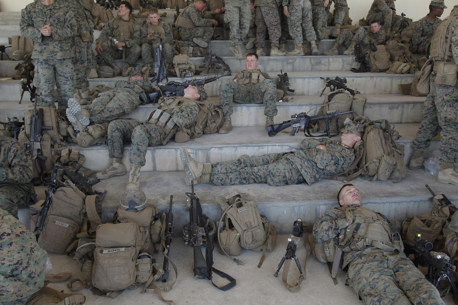 April 22, 2013. U.S. Marine soldiers from 3rd Marine Expeditionary force landing team deployed from Okinawa, Japan, rest during the CJLOTS (Combined Joint Logistics Over The Shore) exercise in Pohang, South Korea.
