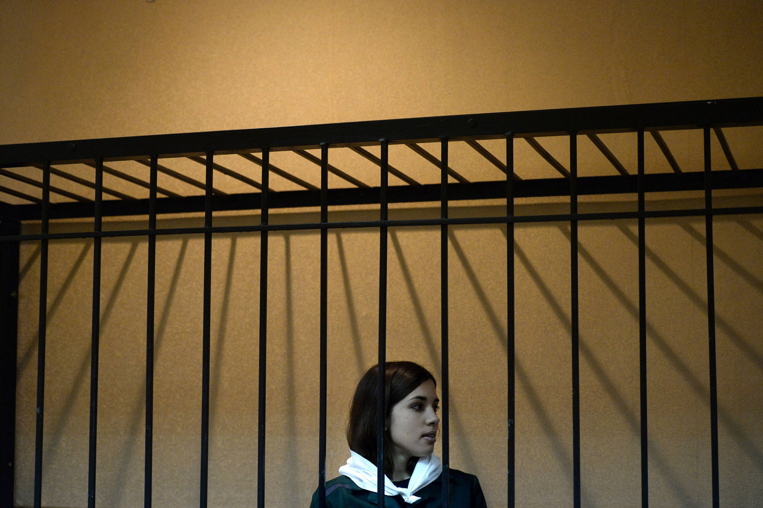 April 26, 2013. Pussy Riot member Nadezhda Tolokonnikova looks on from behind bars as a petition for her early release is heard.