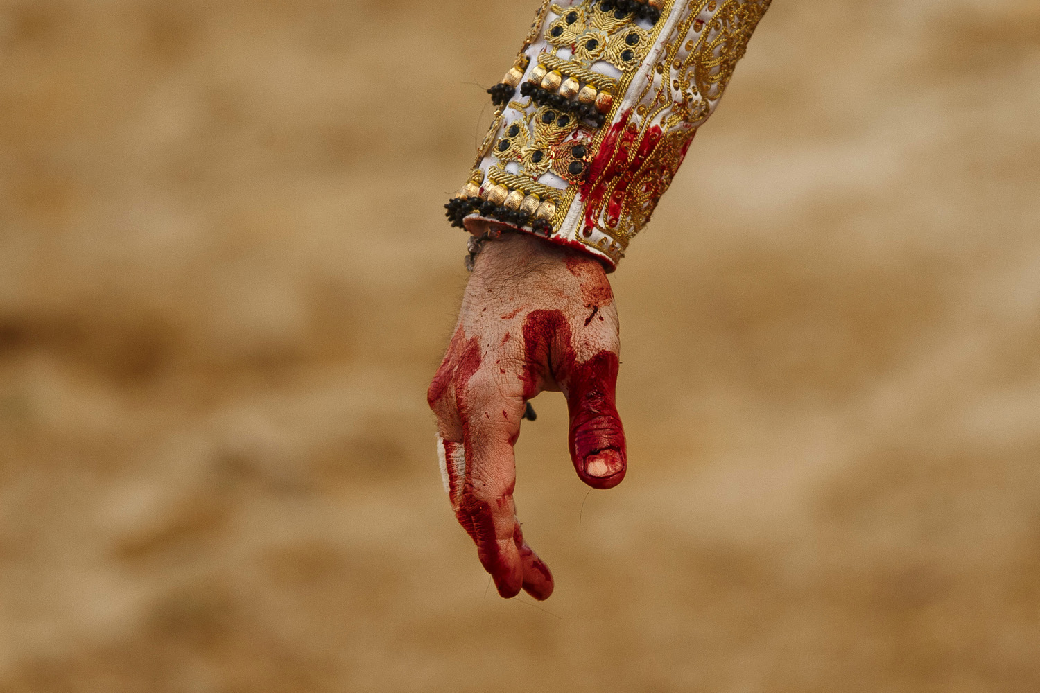 April. 6, 2013. Spain's bullfighter Juan Jose Padilla's hand is stained with blood from a bull during a bullfight at La Muralla bullring in Brihuega, Spain.