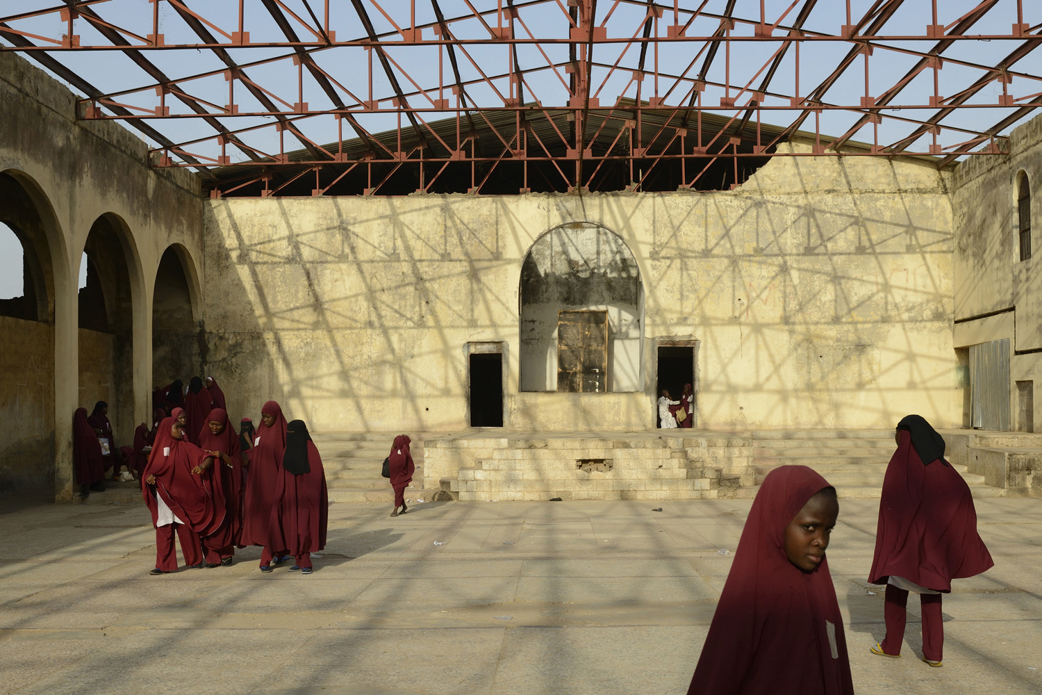 April 7, 2013. Muslim children come out of school at the Zahra Academy, which is a former christian church, Kaduna, Kaduna State, Nigeria.