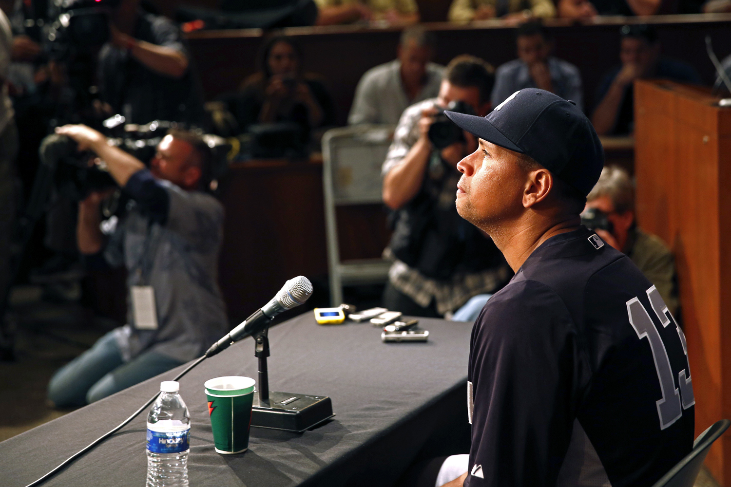 Aug. 5, 2013. New York Yankees' Alex Rodriguez has a news conference before the Yankees play the Chicago White Sox in a baseball game at U.S. Cellular Field in Chicago.