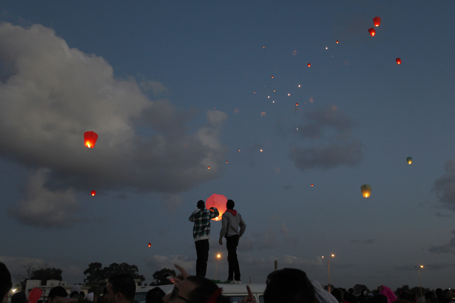 Feb. 17, 2013. Libyans release lanterns into the air at Nasr Square during the second anniversary of the uprising that toppled longtime dictator Moammar Gadhafi in Benghazi, Libya.