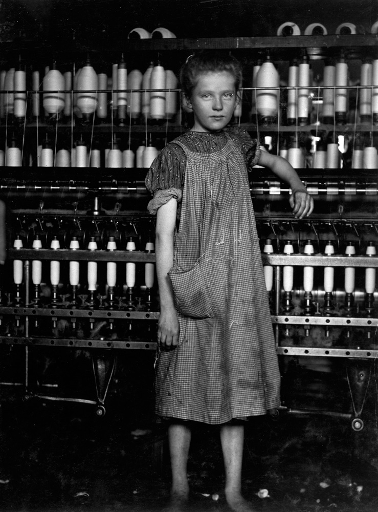 "Addie Card, spinner in cotton mill, 12 years old, North Pownal, Vermont, 1910.                                                               anemic little spinner in North Pownal Cotton Mill.  —Hine's original caption                               ""She told me about how hard it was working in the mill, that she had to quit school in the fourth grade to go to work, about her father disowning her, and how it was so awful not to have your parents' love."" —Great-Granddaughter of Addie Card"