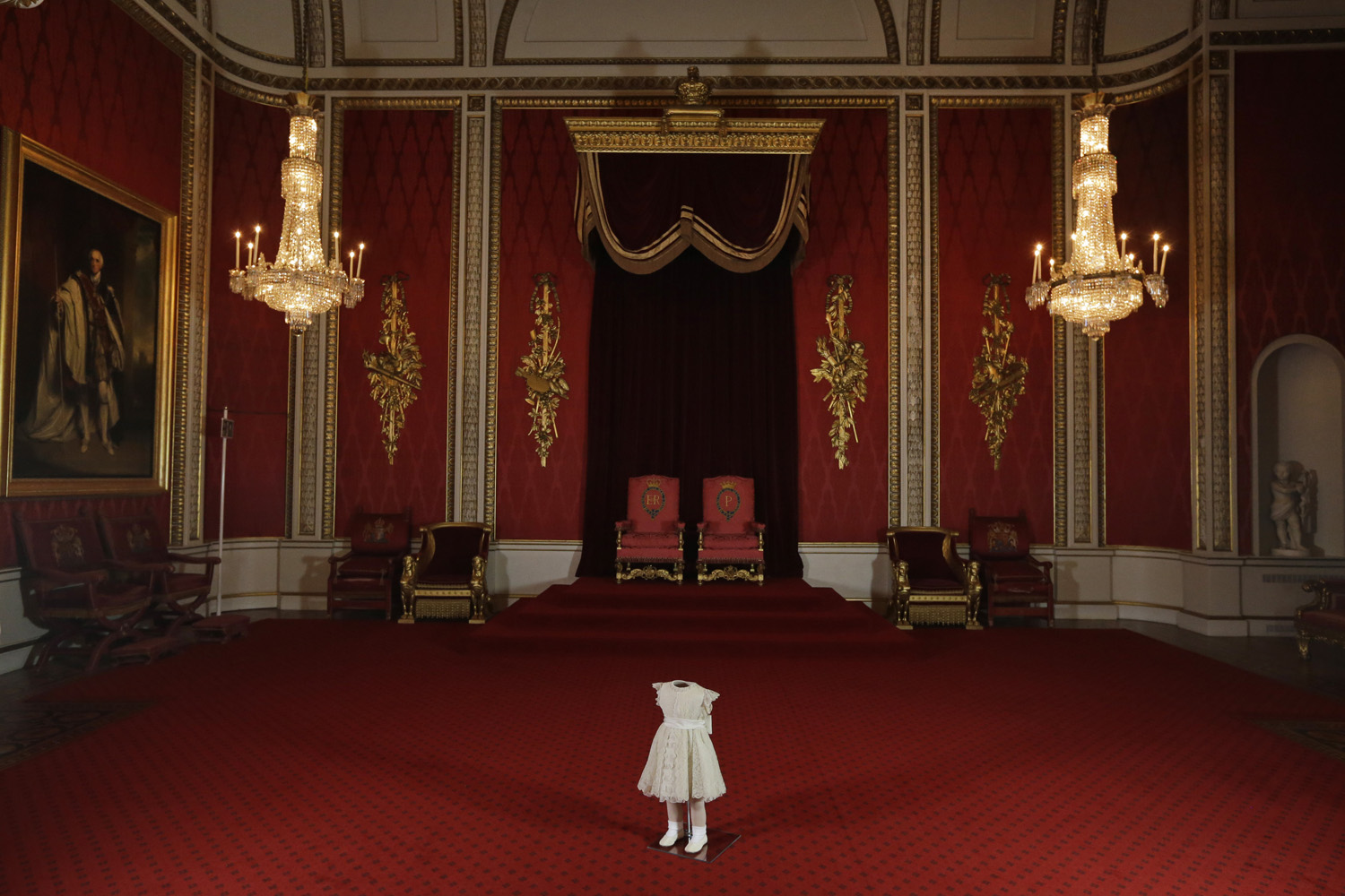 Jan. 24, 2013. The outfit worn by the two-year-old Princess Anne at Britain's Queen Elizabeth II's Coronation on June 2, 1953, is seen during a photo opportunity at the Throne Room of Buckingham Palace in central London.