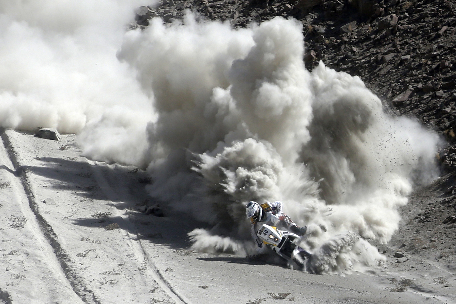 Jan. 9, 2013. South Africa's Riaan Van Niekerk falls with his KTM during the 5th stage of the Dakar Rally 2013 from Arequipa in Peru to Arica in Chile.