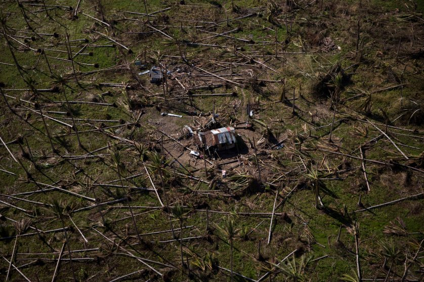 An aerial view the countryside near Tacloban that was effected by Haiyan Typhoon in Tacloban, The Philippines on November 18, 2013.