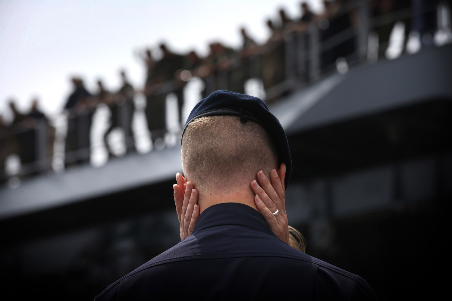 July 14, 2013. A member of the Zr. Ms. Johan de Witt Dutch navy warship says goodbye on to a loved one on the quayside in Den Helder, Netherlands.