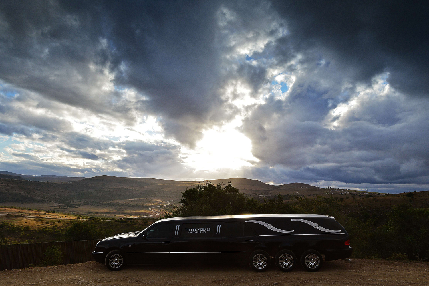 July 3, 2013. A hearse is pictured at Mvezo resort after being accompanied by a police convoy to collect the remains of former South African President Nelson Mandela's children.