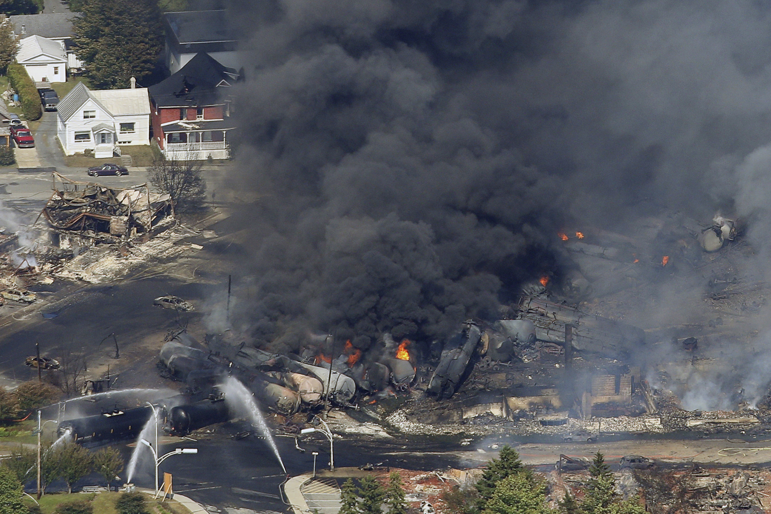 July 6, 2013. The wreckage of a train is pictured after an explosion in Lac Megantic, Quebec.