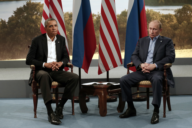 June 17, 2013. U.S. President Barack Obama (L) meets with Russian President Vladimir Putin during the G8 Summit at Lough Erne in Enniskillen, Northern Ireland.