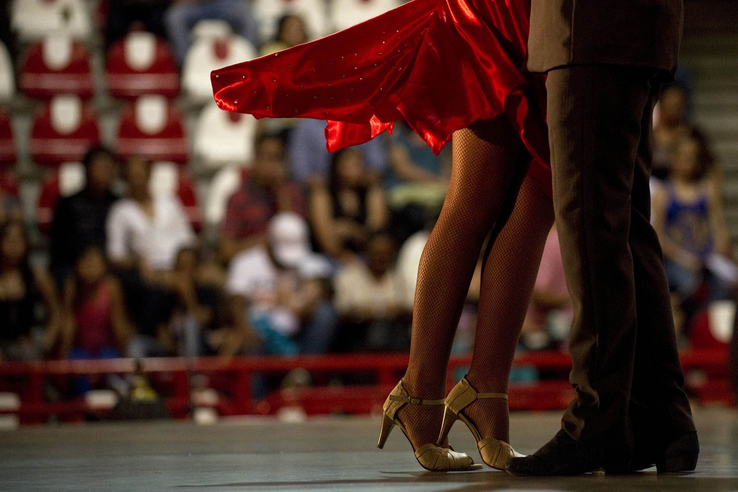 June 21, 2013. Colombian tango dancers Valentina Valencia and Cristian Montoya perform during the Third World Tango Championships as part of the  VII International Tango Festival  in MedellÌn, Antioquia department, Colombia.