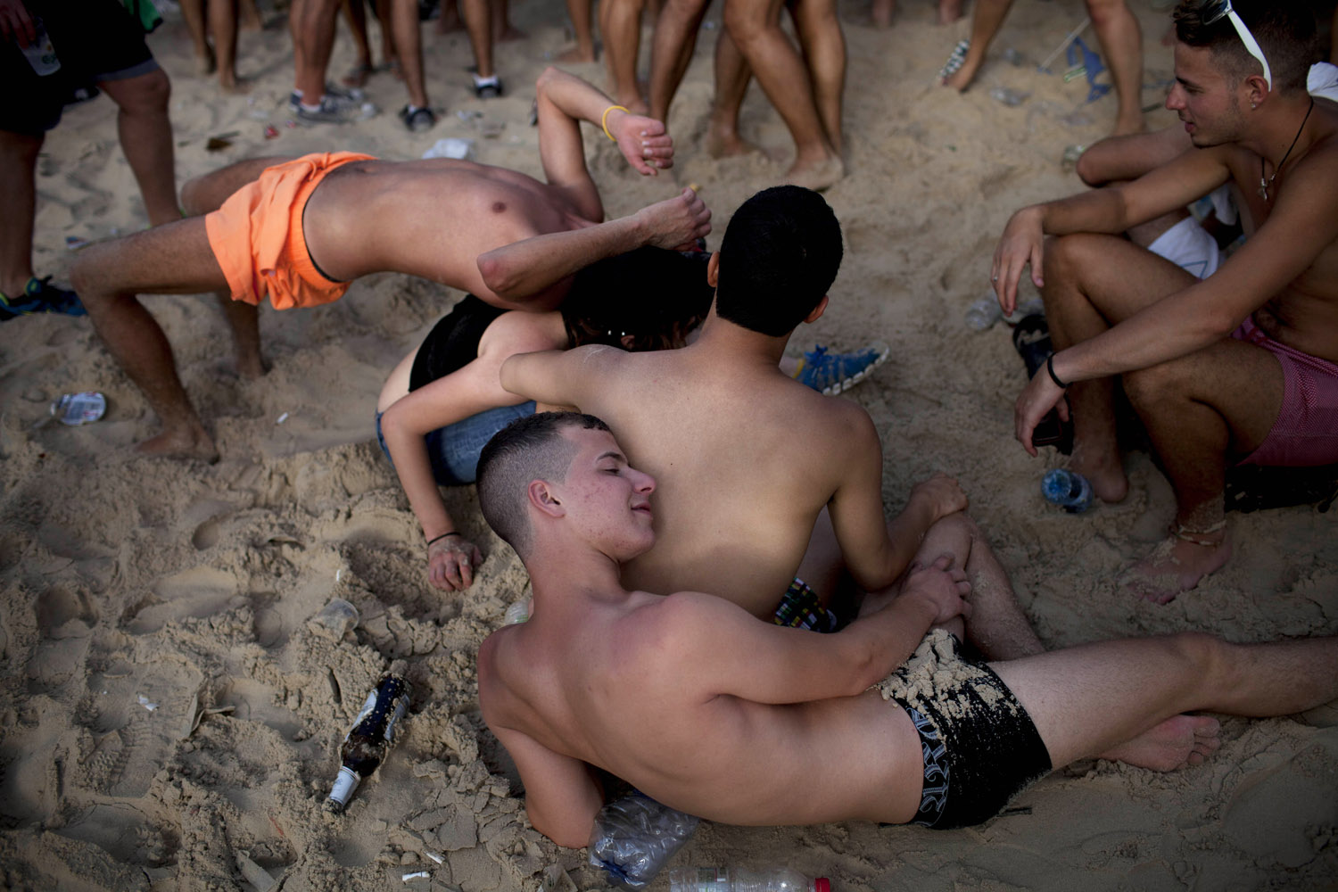 June 7, 2013. Israelis participate in the annual Gay Pride parade on the beach of Tel Aviv, Israel.
