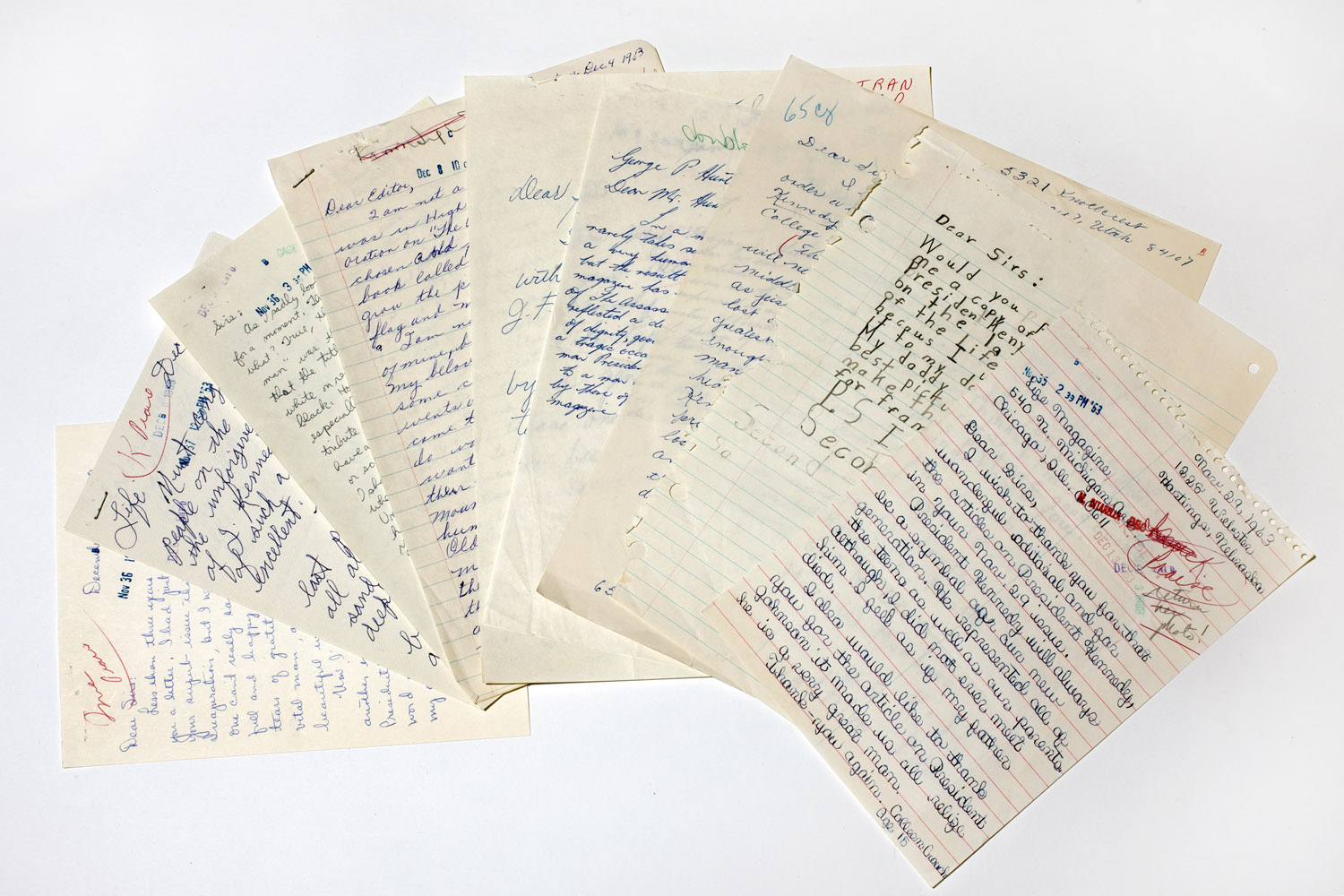 A sample of the hundreds of letters LIFE received following the publication of the JFK memorial edition in late 1963.
