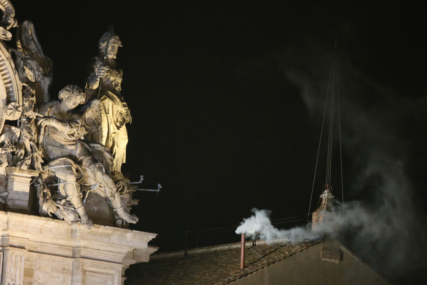 March 13, 2013. White smoke rises from the chimney of the Sistine Chapel in the Vatican indicating that a new Pope has been elected.