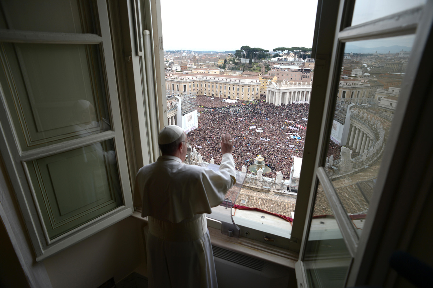 March 17, 2013. Pope Francis leads his first Angelus Prayer and blessing from the studio of his private apartment at the Vatican.