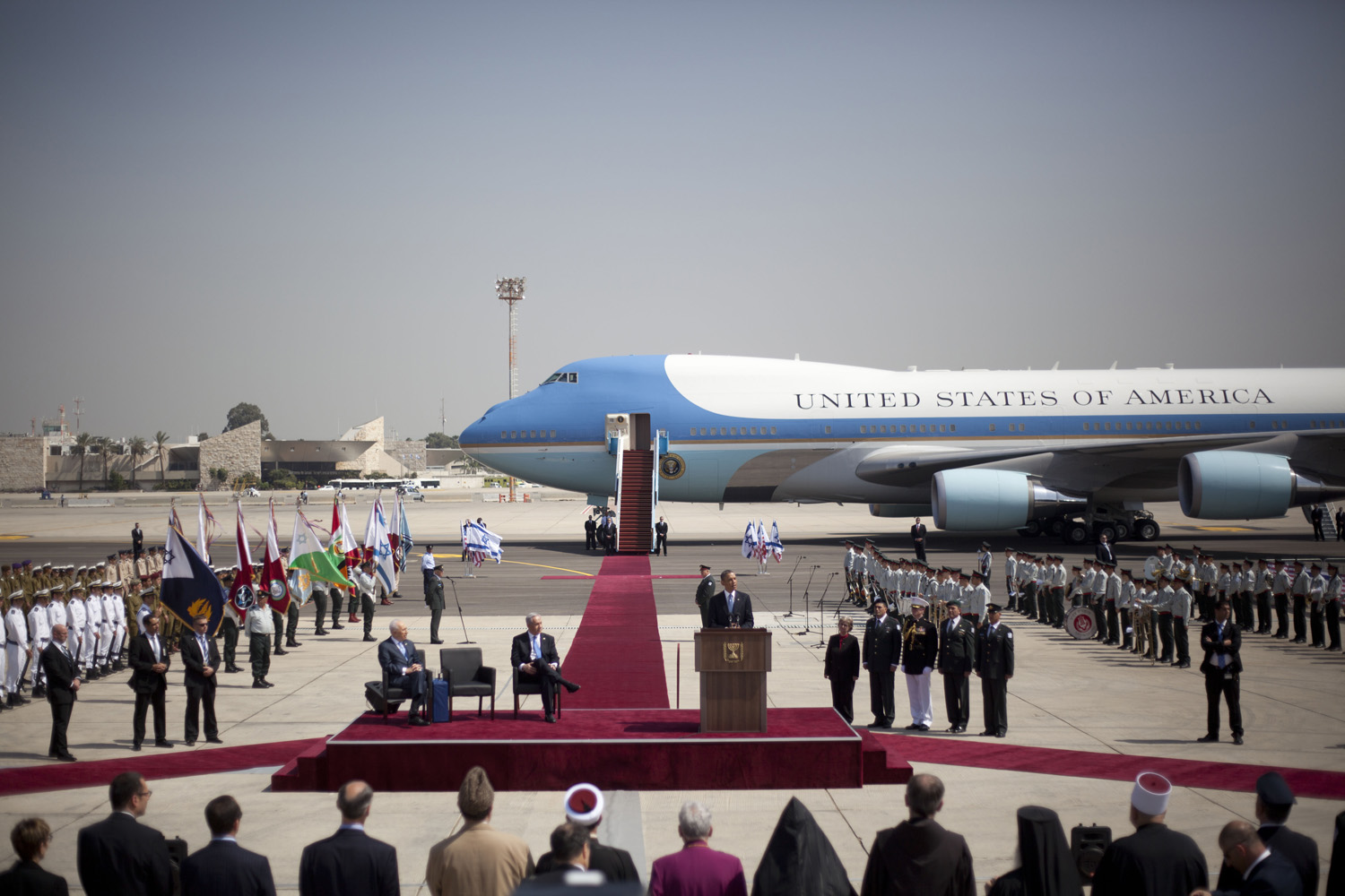 March 20, 2013. US President Barack Obama delivers a speech upon his arrival at Ben Gurion airport near Tel Aviv, Israel.