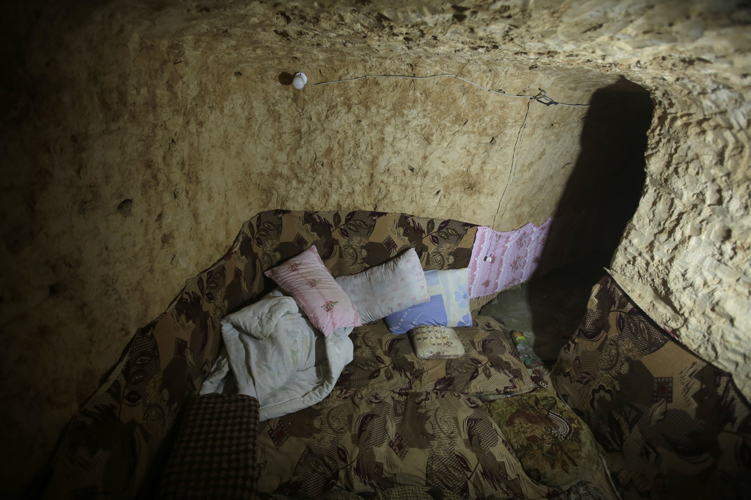 May 13, 2013. An underground bunker used by rebel fighters is pictured as Syrian troops take control of the village of Western Dumayna, north of the rebel-held city of Qusayr, Syria.